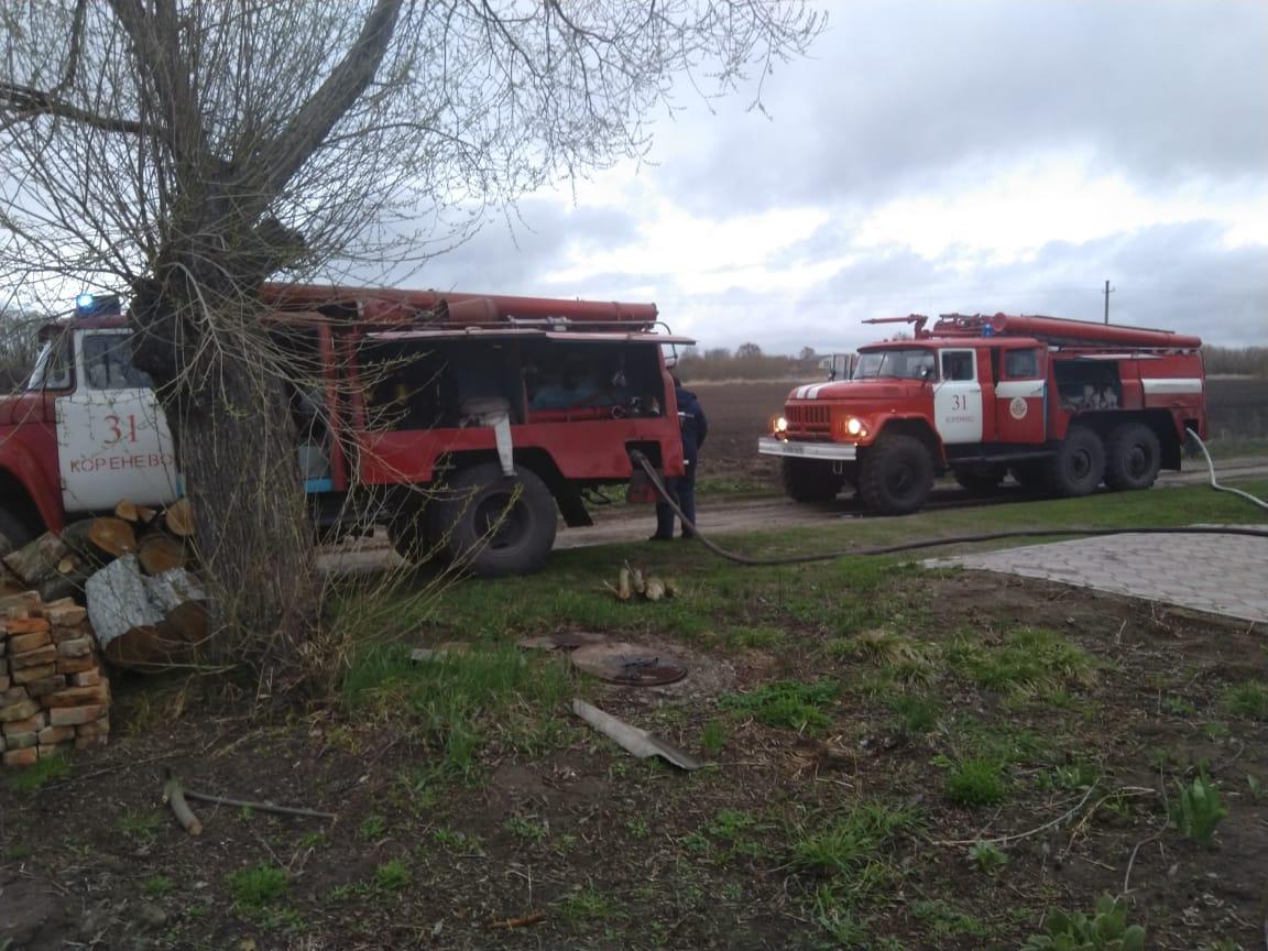 Пожар в селе Краснооктябрьское Кореневского района Курской области ликвидирован